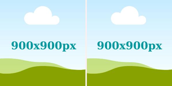 Nếu đăng 2 hình vuông thì size ảnh là 900 x 900 px