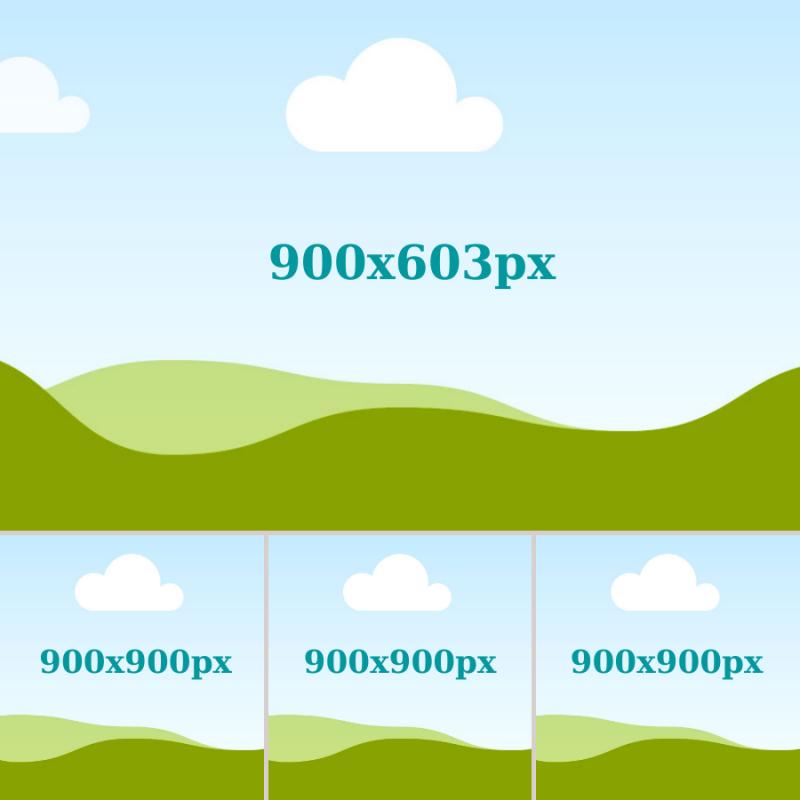 Hình lớn bên trên là 900 x 603 px. 3 hình bên dưới size 900 x 900px.