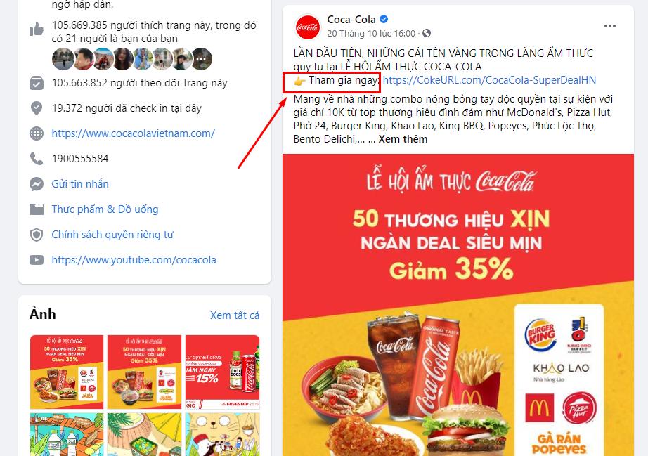 Đừng quên thông tin liên hệ và các nút CTA trong bài post quảng cáo của bạn nhé.